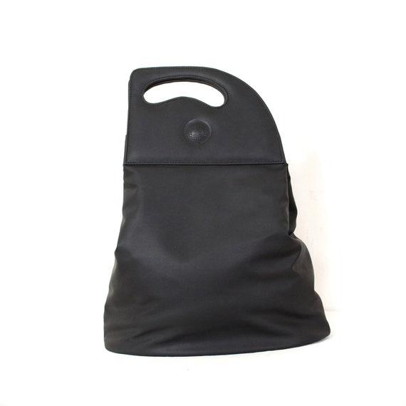 Thierry MUGLER tote bag black fabric 2 rigid handl