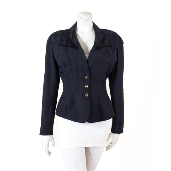 Thierry MUGLER jacket in wool blue and black, velv