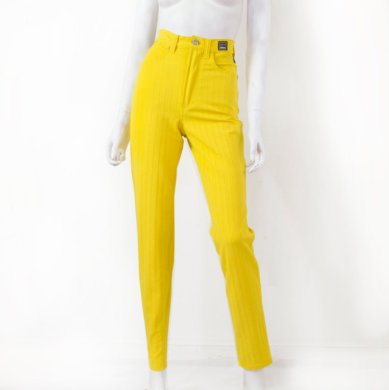 138fa3d82c VERSACE JEANS COUTURE Pants, canary yellow with stripes in the mass, high  waist, new / vintage 90s /36 - S / Versace