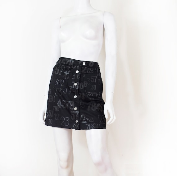 KENZO skirt short cut black background and numbers overprinted   Etsy e50c6037c41