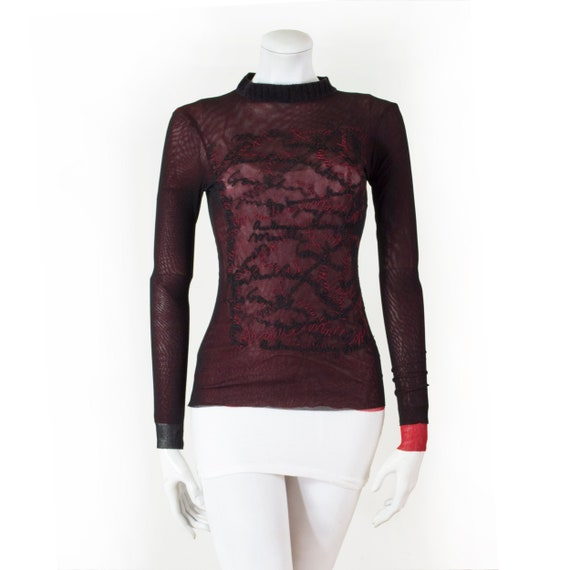Top Jean Paul GAULTIER black mesh, lined red and e