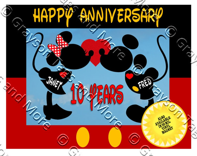6c6a3daf9465 Disney Cruise Door Magnet - Mickey Border Anniversary Magnet (Vinyl Magnet  Option Available)