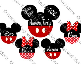 Large Personalized Family Mickey Pants and Small Mickey/Minnie Pants/Dress Disney Cruise Door Magnet Set