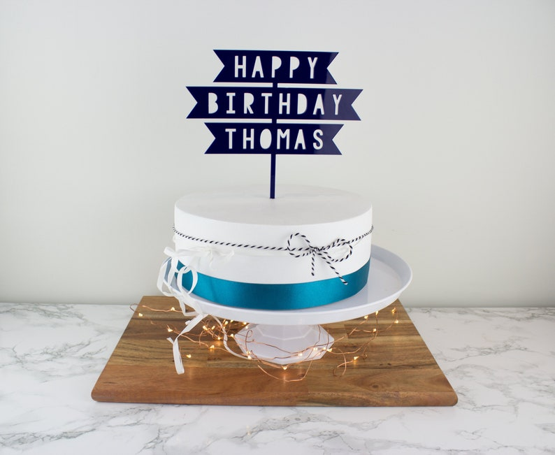 Happy Birthday Personalised Acrylic Cake Topper Laser Cut