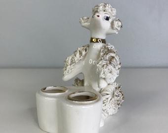 vintage ceramic poodle lipstick holder by I.W. Rice Japan