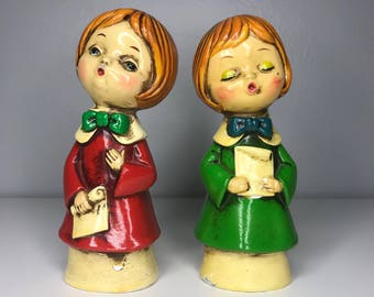 set of two vintage Christmas carolers