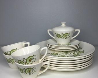 vintage 17 piece mid century retro dinnerware set by American Ironstone
