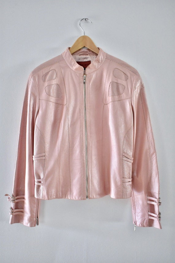 Light pink leather jacket