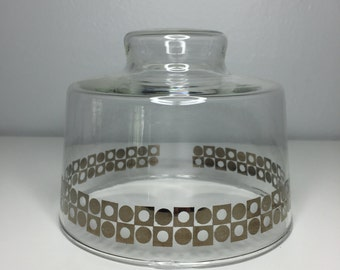 SALE! vintage retro glass cheese dome with silver overlay