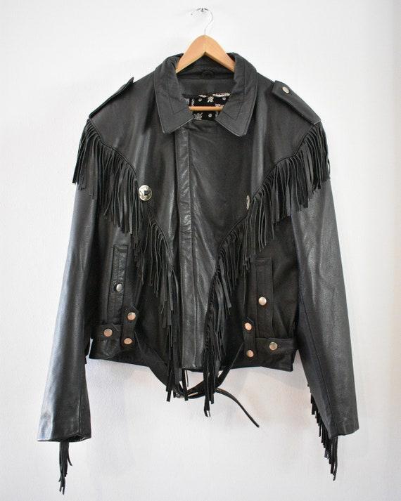 Leather motorcycle jacket with fringe