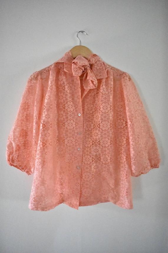 Salmon pink lace blouse