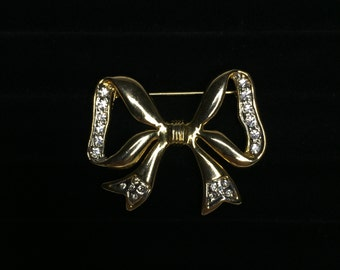 vintage gold tone bow PIN BROOCH with cubic zirconia gemstones