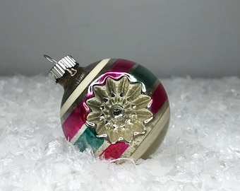 vintage striped Shiny Brite mercury glass Christmas ornament