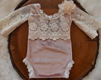e819c6a5cbd4 Newborn Girl Lace Romper