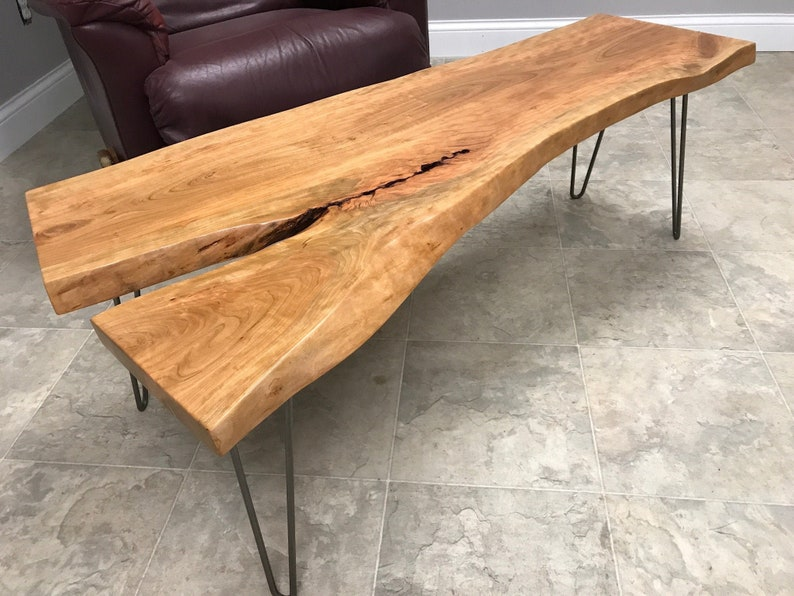 Live Edge Rustic Coffee Table   Rustic Coffee Table Handcrafted From A Live  Edge Cherry Wood Slab U0026 Steel Hairpin Legs   Wood Coffee Table