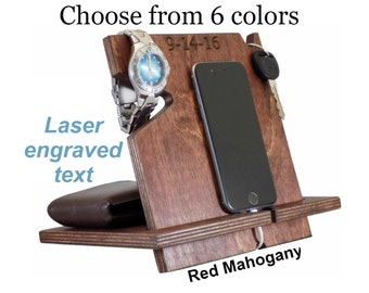 Fathers Day Mens Gift, Unique Graduation Gift For Him, Personalized Gift, Gift Ideas For Men, iPhone Holder, iPhone Dock, Phone Valet
