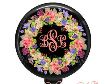 Monogram Badge Reel Holder with Pink and Purple flowers
