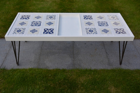 Fine Coffee Table Hairpin Legs Mexican Tiles White Blue Lounge Conservatory Unique Handmade Machost Co Dining Chair Design Ideas Machostcouk