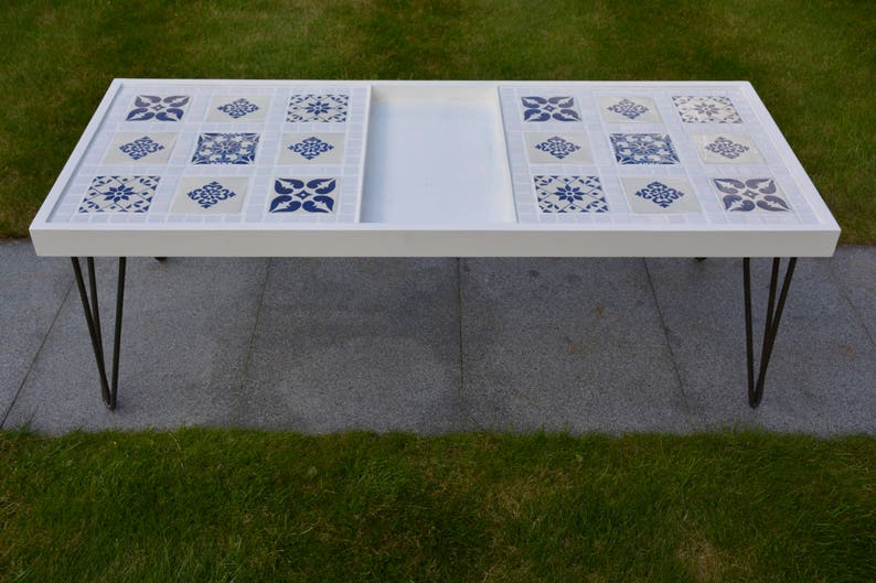 Coffee Table  Hairpin Legs  Mexican Tiles  White & Blue  image 0