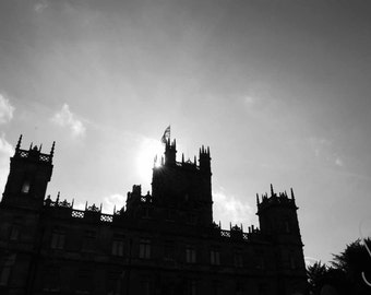 Highclere Castle | Downton Abbey |  Black and White | Photographic Print | Photography | Landscape | Decor | Home | Wall Art | Architecture