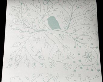 Nursery Bird Wallpaper |Grey/Gray | Blue | Nursery, Children's Design, Kids Bedroom | Home Interiors | Made In England | Nature