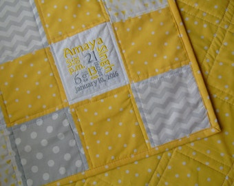 Yellow Baby Quilt, Yellow and Gray Baby Quilt, Personalized Baby Quilt, Customized Baby Quilt, Yellow Baby Blanket, Yellow and Gray Blanket