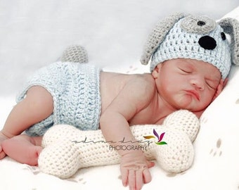 Newborn puppy outfit, baby puppy photo prop, newborn puppy hat, baby puppy outfit, crochet puppy photo prop, puppy photo prop, puppy outfit