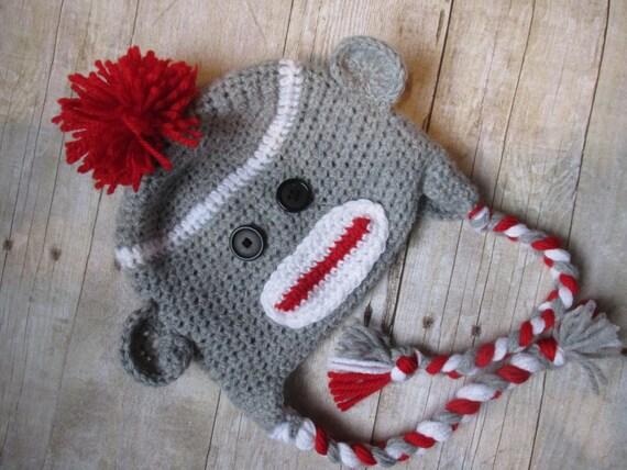 Sock Monkey Babymütze Neugeborene Sock Monkey Hut Sock Monkey