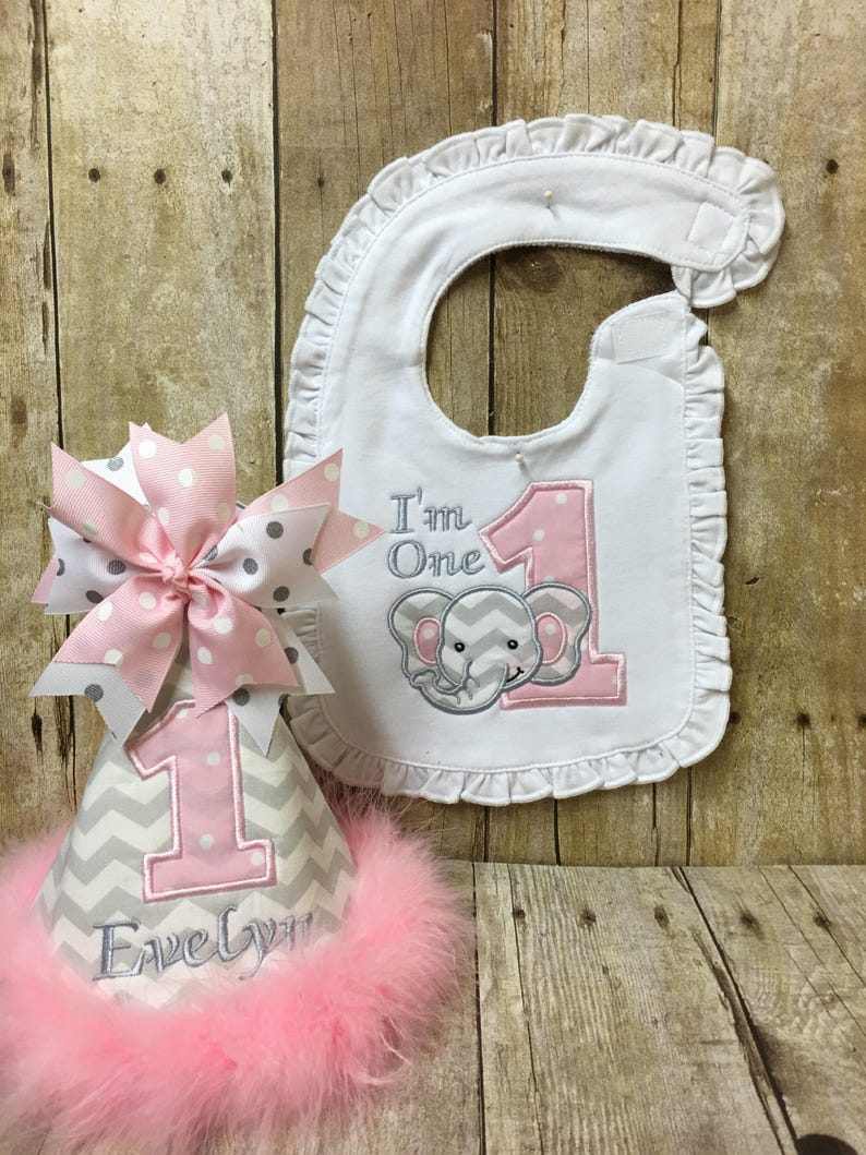 Elephant First Birthday Hat And Bib 1st