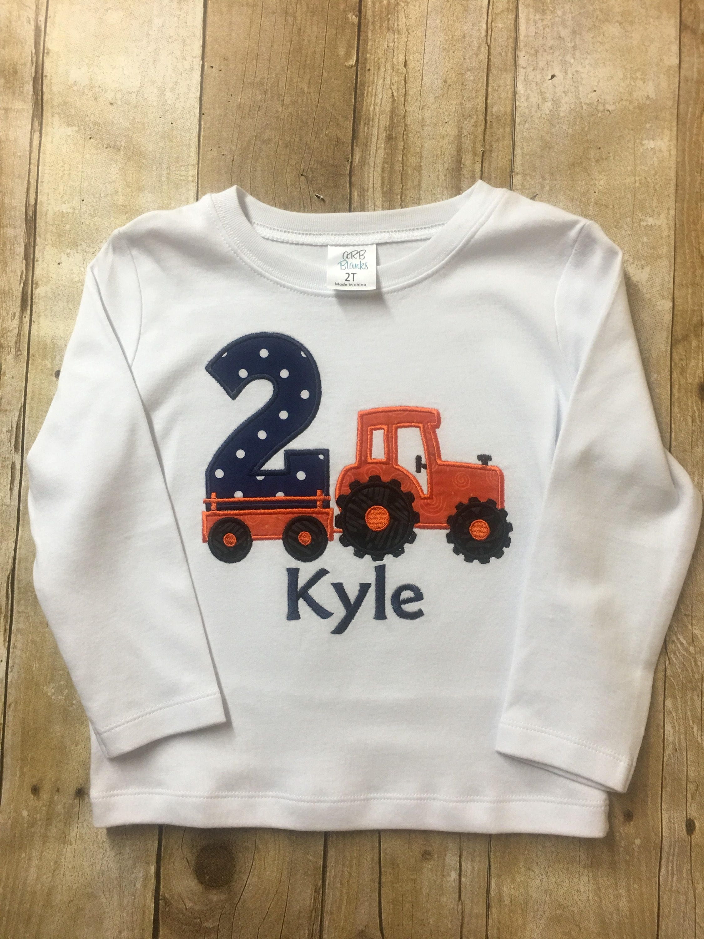 2nd Birthday Tractor Shirt Boy