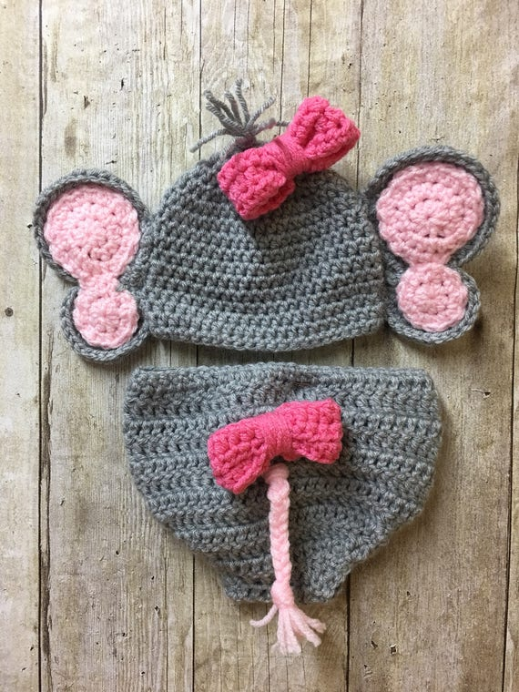 b3701a20f9d Newborn elephant hat and diaper cover baby elephant hat