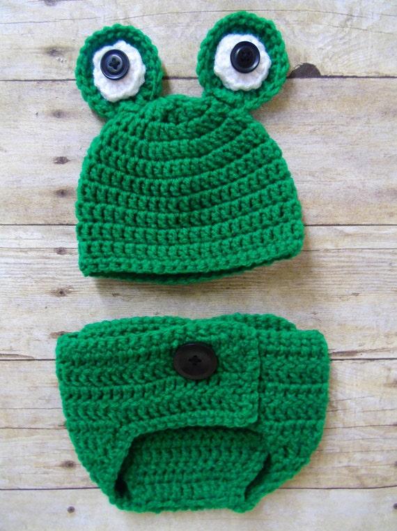 Neugeborenen Frosch Hut und Windel-Abdeckung Babymütze
