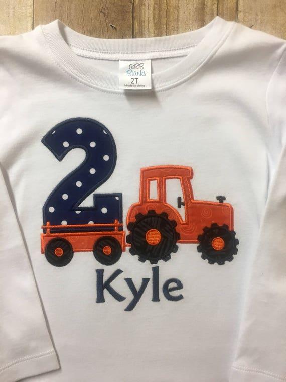 2nd Birthday Tractor Shirt Boy