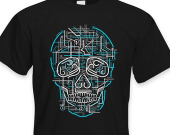33bc17d9c Electric Skull Mens T Shirt - Circuit Board Neon Rave Clubbing Cool