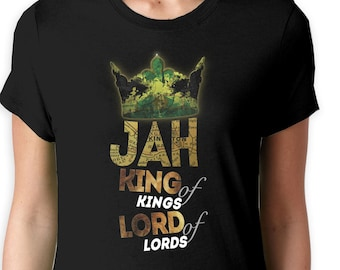Jah roi des rois T Shirt femme , Jamaïque Haile Selassie Reggae de Bob  Marley Rasta