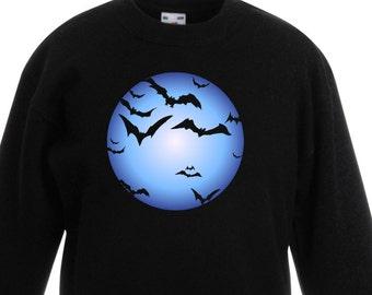 Bat Full Moon Halloween Kids Childrens Unisex Jumper Sweatshirt - Banksy Graffiti Artist