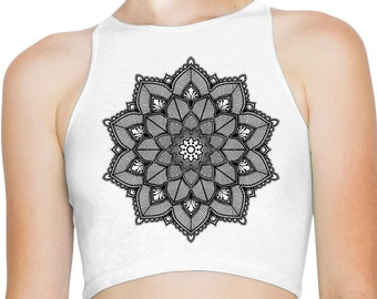c301f42a75cd54 Mandala Henna Tattoo Women s High Neck Sleeveless Crop Top