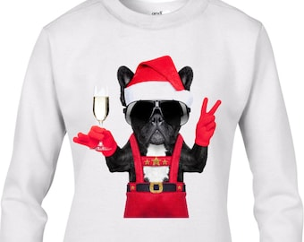 french bulldog santa style womens christmas jumper bulldog dog santa