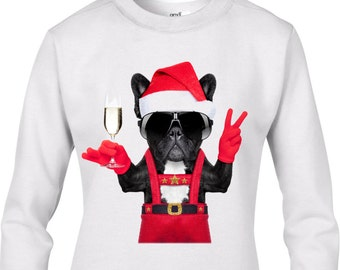 French Bulldog Santa Style Women's Christmas Jumper - Bulldog Dog Santa