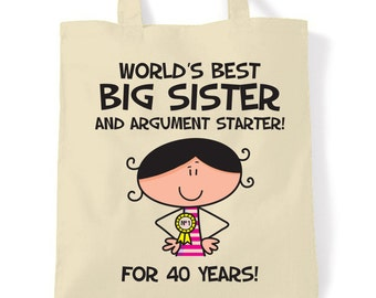 World/'s Best Sister White Tote Bag. Shopping Bag. 30th 40th 50th Birthday Gift