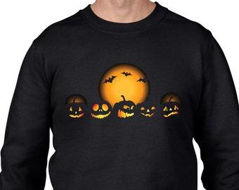 Halloween Pumpkin Men's Sweatshirt Jumper - Halloween Pumpkins Orange Moon Bats Fancy Dress Party Trick or Treat