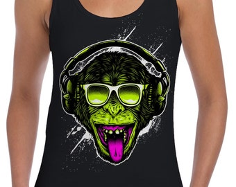688713e239e343 Funky Monkey DJ Women s Vest Tank Top - Clubbing Jungle Rave
