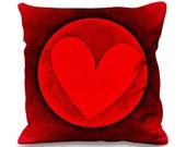Love Heart Emblem Valentines Day Faux Silk 45cm x 45cm Sofa Cushion