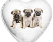 Pug Puppies Cute Dog Faux Silk Heart Shaped Sofa Cushion