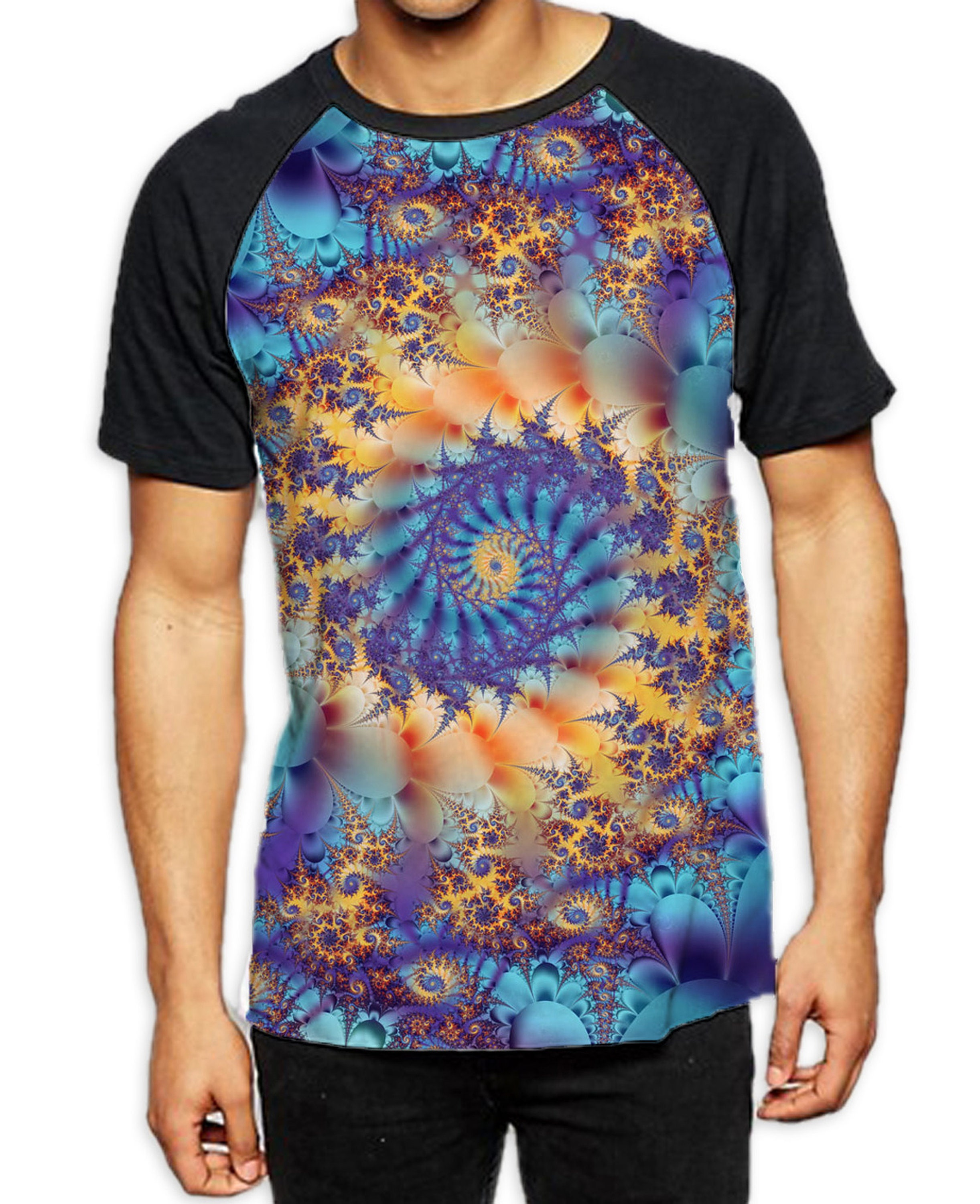 Fractal Loop Mens All Over Graphic Contrast Baseball T Shirt Unisex Tshirt