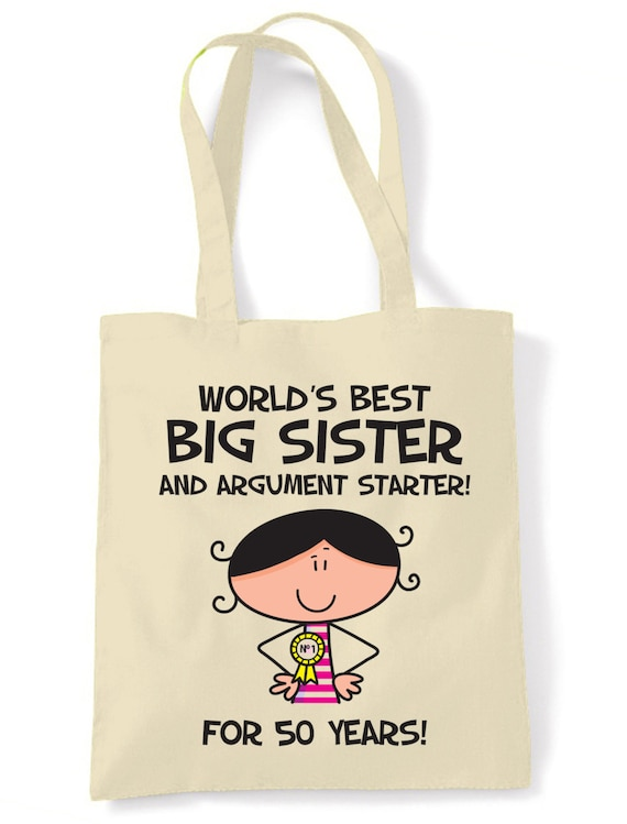 Worlds Best Big Sister 50th Birthday Tote Bag