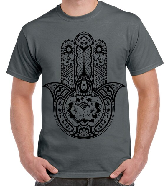 Tribal Hamsa Hand Van Fatima Tattoo Grote Print T Shirt Voor Etsy