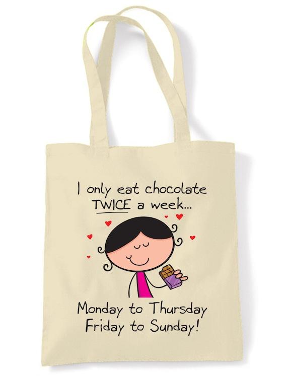 J'ai seulement manger du chocolat deux fois une semaine sac cabas en coton commercial