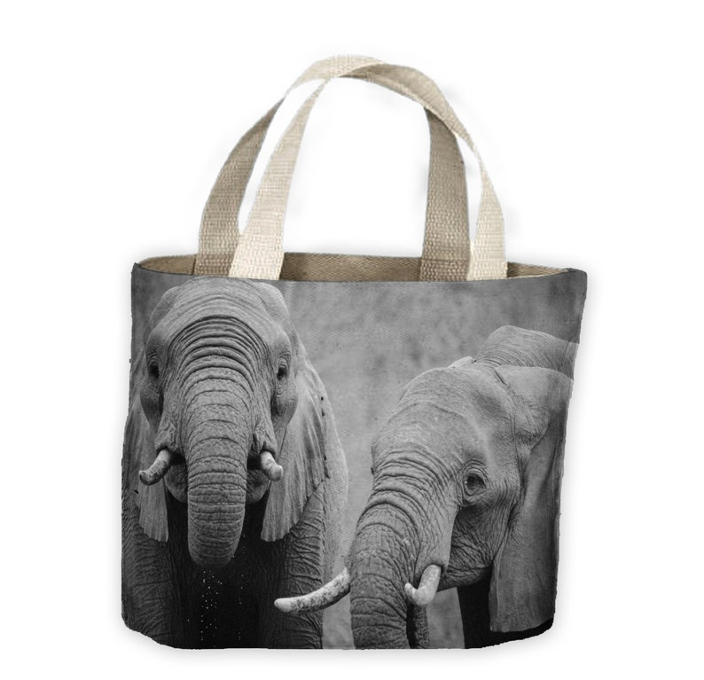 Elephants Black and White Tote Shopping Bag For Life Elephant Africa