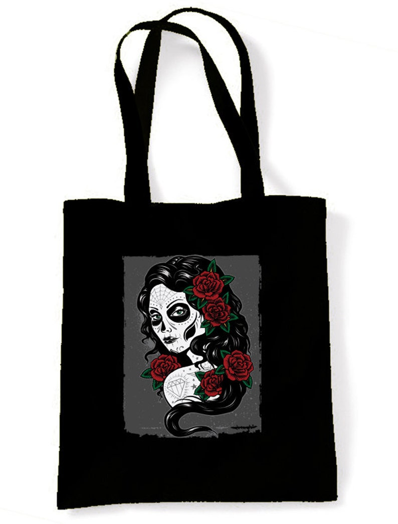 Day of the Dead Girl Tattoo Cotton Tote Shopping Bag